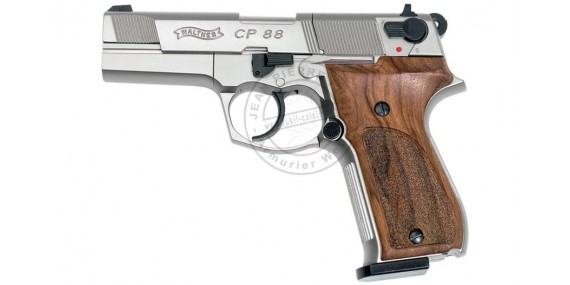 WALTHER CP88 4'' CO2 pistol - Nickel Wooden grip - .177 bore (3,6 joules)
