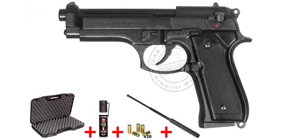 Pistolet alarme BRUNI Mod. 92 noir Cal. 9mm + Kit défense