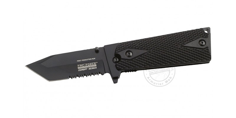 Couteau TAC FORCE - Combat Series - Lame tanto noire - Plaquettes noires