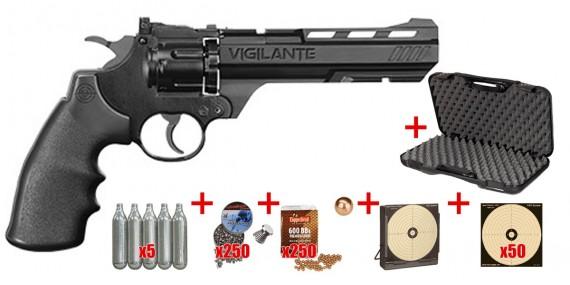 Kit Revolver 4,5 mm CO2 CROSMAN - VIGILANTE 6'' noir (4,3 joules) - PROMO