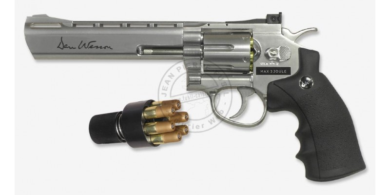 Revolver 4,5 mm CO2 ASG Dan Wesson 6'' - Nickelé (3 joules) - Plombs