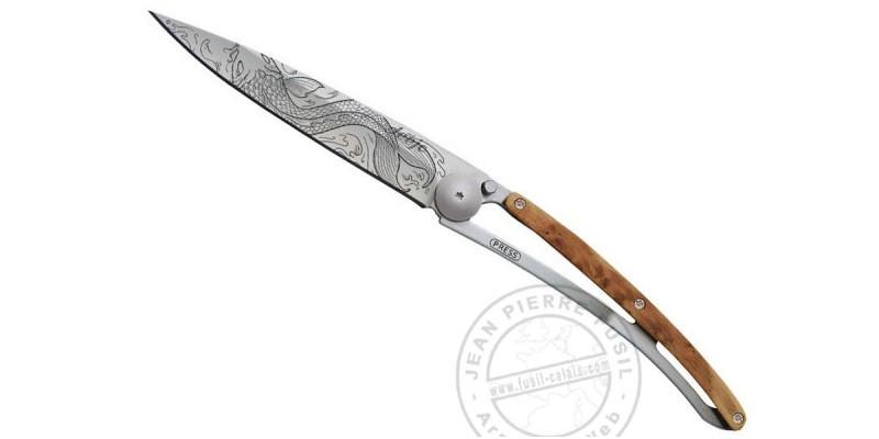 Couteau DEEJO TATTOO 37g - Motif POISSON - Genévrier