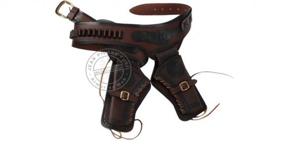 Buscadero cuir imprimé - 2 revolvers