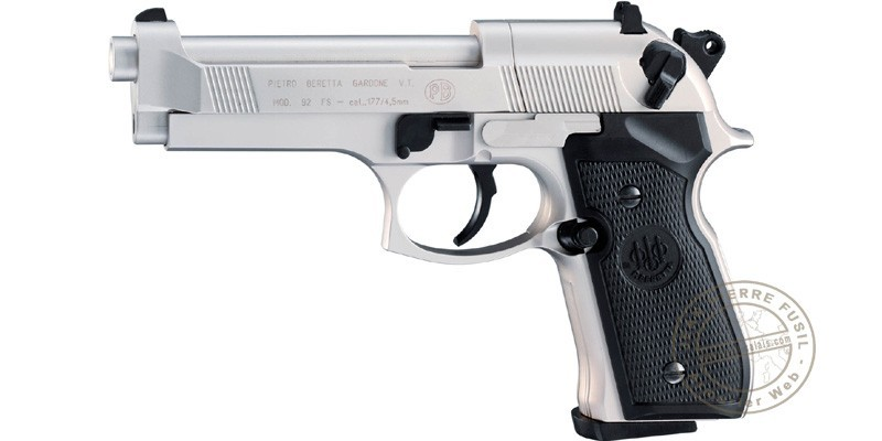 Pistolet 4,5 mm CO2 UMAREX - BERETTA 92 nickelé (3,5 joules)