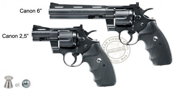 Revolver à plombs 4,5 mm CO2 UMAREX - COLT Python - Noir (Inf. à 3 Joules)