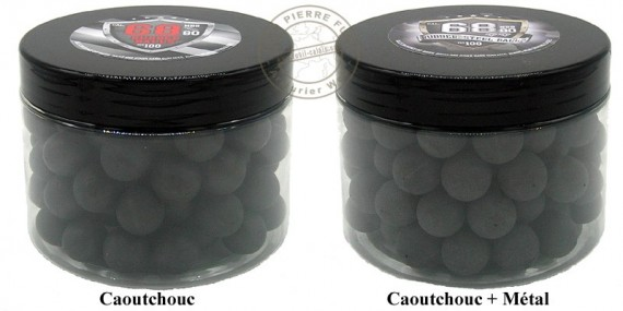 Box of 100 balls caliber .68 - Rubber or steel rubber
