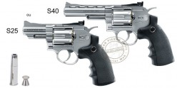 UMAREX Legends S25, S40 or S60 CO2 revolver - .177 bore - Silver (2.8 to 3.5 Joule)